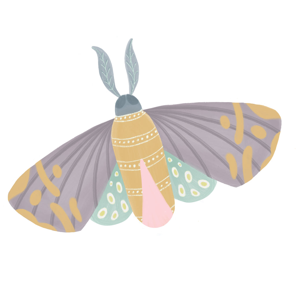 Batik Moth Illustrated Fabric Wall Sticker