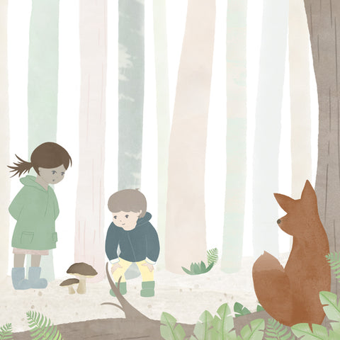 Forest Fox Illustration | Scandi Nursery Decor Wall Art | Born Lucky