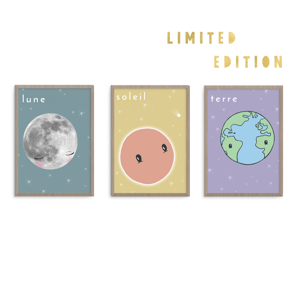 French Moon Planet Nursery Design Art Prints