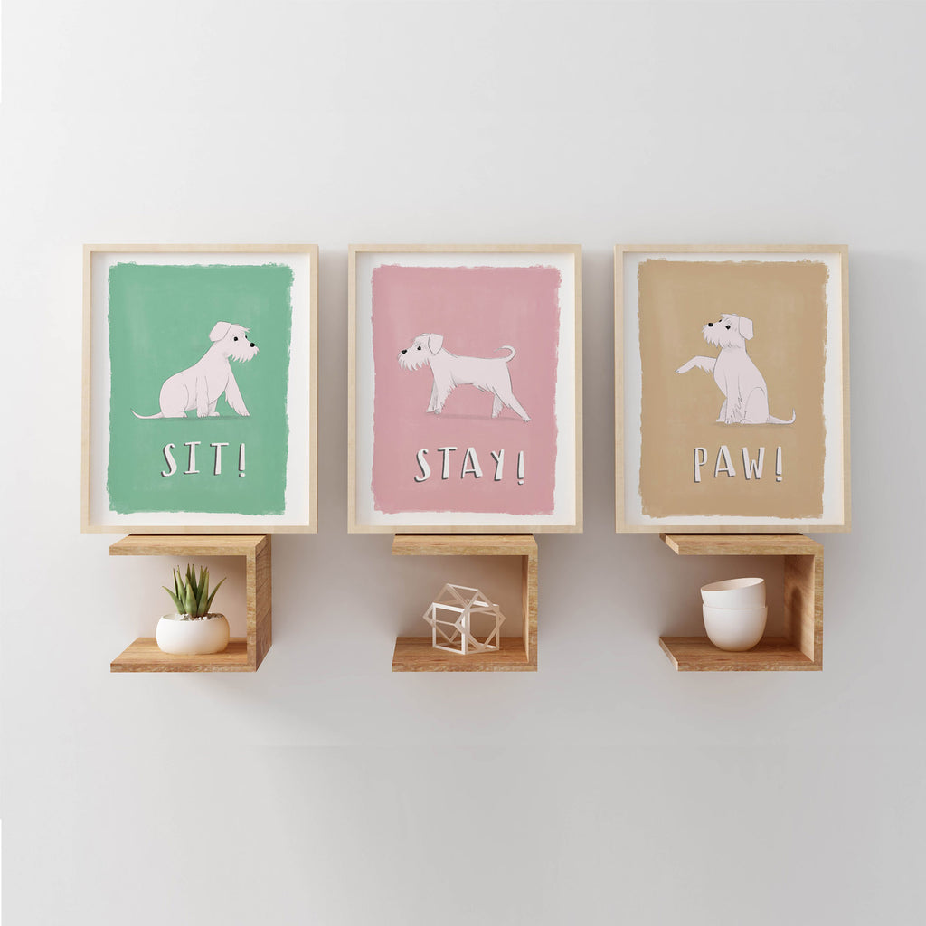 little white dog illustration poster collection for nursery walls