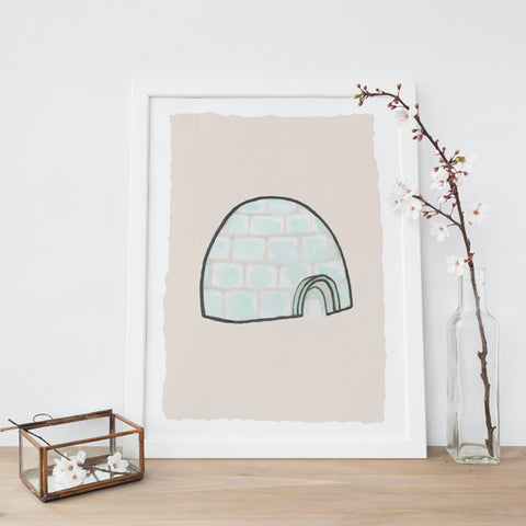 Cosy Igloo Illustration | Scandi Nursery Decor Wall Art | Born Lucky