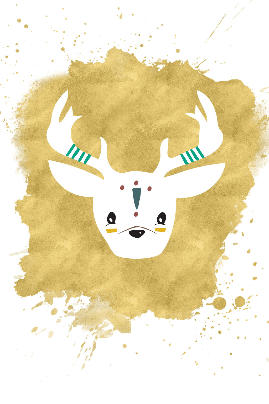 Tribal Stag Kids Art Print | Scandinavian Nursery Decor | Born Lucky