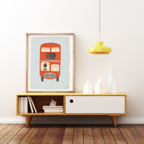 London Bus Illustration Born Lucky Nursery Art Prints