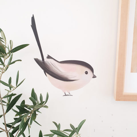 Long-tailed Tit Bird Illustrated Fabric Wall Sticker