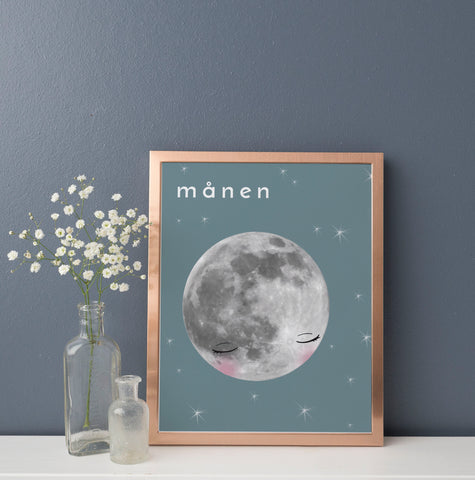 Månen (moon) Art Print | Scandinavian Nursery Decor | Born Lucky