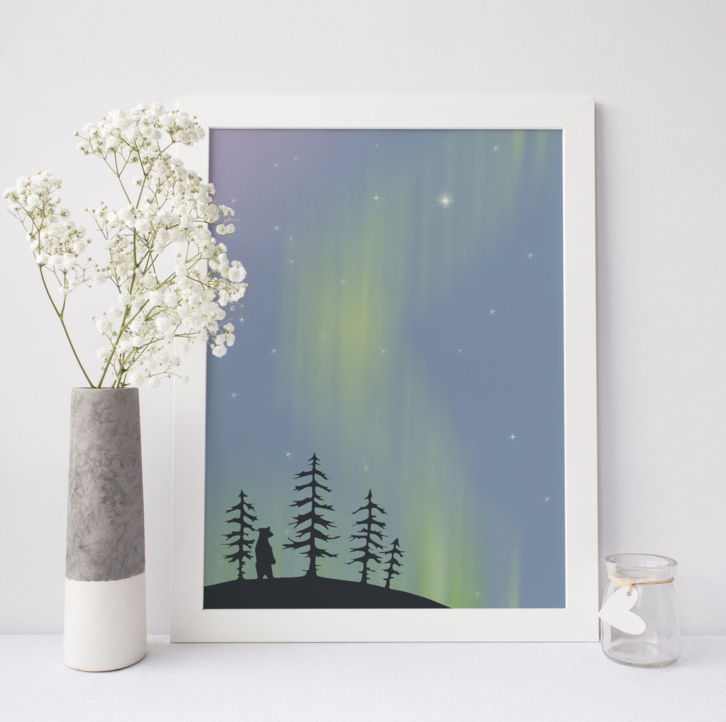 Northern Lights Bear Illustration