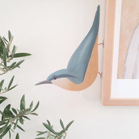 Nuthatch Bird Illustrated Fabric Wall Sticker