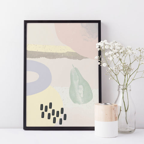 Abstract FRUIT Illustration | Scandi Nursery Decor Wall Art | Born Lucky | A3 Print