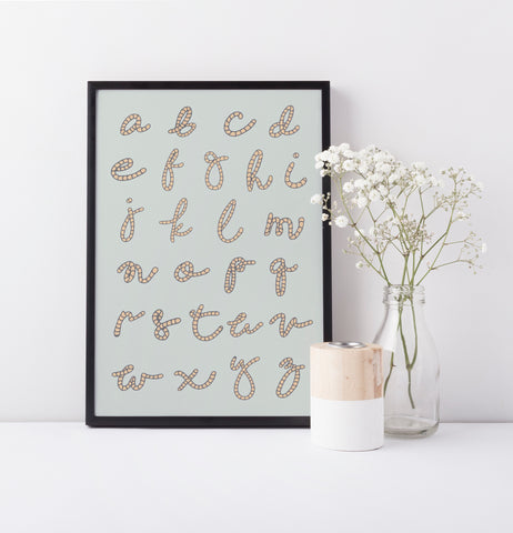 Alphabet A-Z Poster Illustration | Scandi Nursery Decor Wall Art | Born Lucky | A3 Print