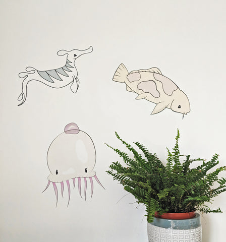 Fabric Sealife Wall Decal Stickers Nursery Decor