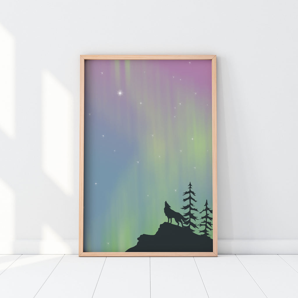 Northern Lights Wolf Nursery Print Illustration Wooden Frame