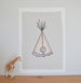 Stitched Wigwam Illustration | Scandinavian Nursery Decor Wall Art | Born Lucky | A3