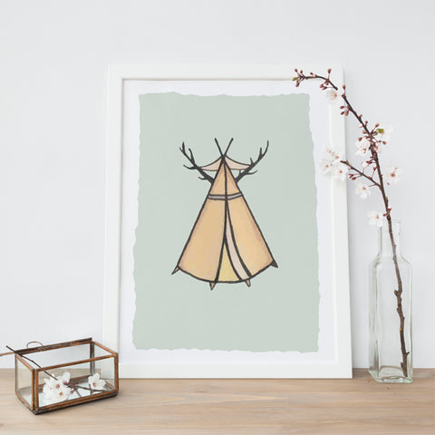 Antler Teepee Illustration | Scandi Nursery Decor Wall Art | Born Lucky | A3 Print