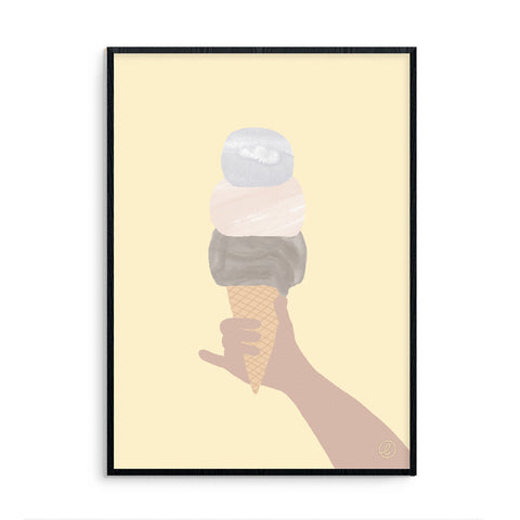 Contemporary Pink Ice Cream Nursery Art Print Life is Sweet