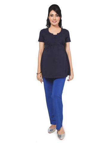Maternity Comfortable Jersey Nursing Blouse In Black