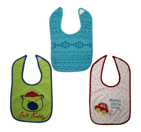 Baby Bib Set Of 3 - Teddy,Car And Abstract