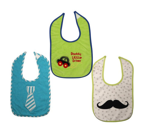 Baby Bib Set Of 3 - Tie,Car And Moustache
