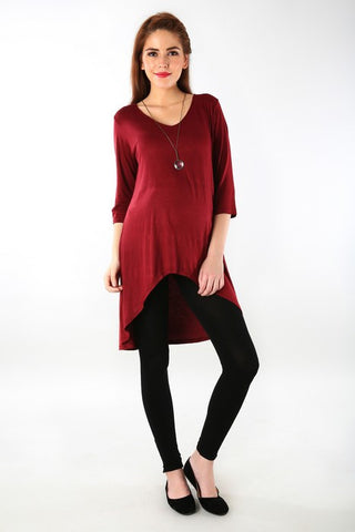 Burgundy Front Short Maternity Top