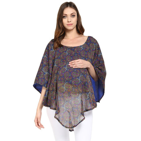 2-in-1 Poncho for Maternity & Nursing Multicolored