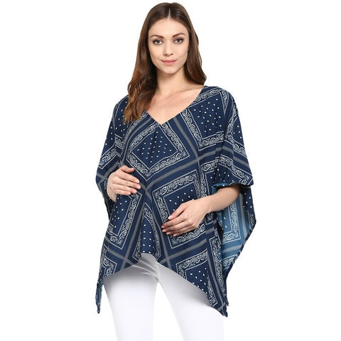2-in-1 Poncho for Maternity & Nursing Blue
