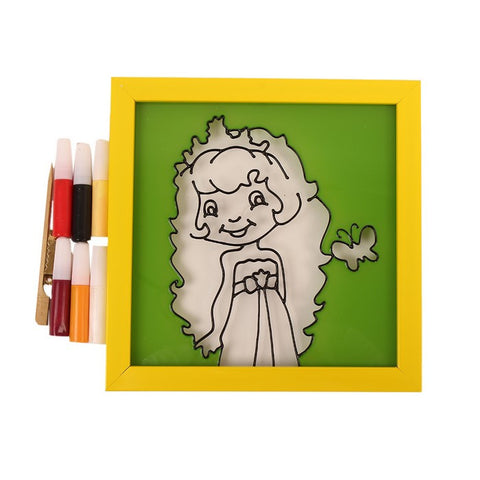 Glass Painting Frame With Colours- Rapunzel
