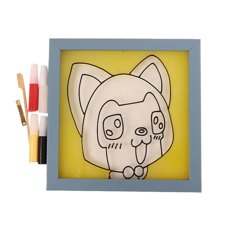 Glass Painting Frame With Colours- Dog