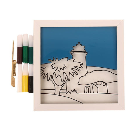 Glass Painting Frame With Colours- Scenary