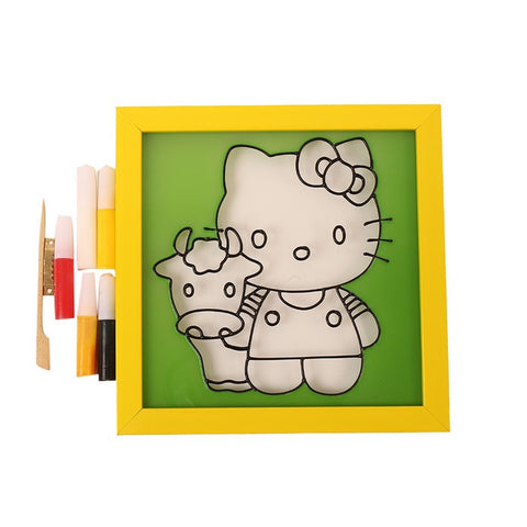 Glass Painting Frame With Colours- Hello Kitty 002