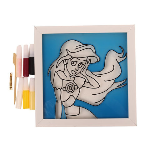 Glass Painting Frame With Colours- Ariel Mermaid