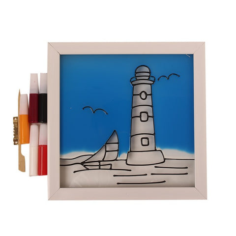 Glass Painting Frame With Colours- Light house
