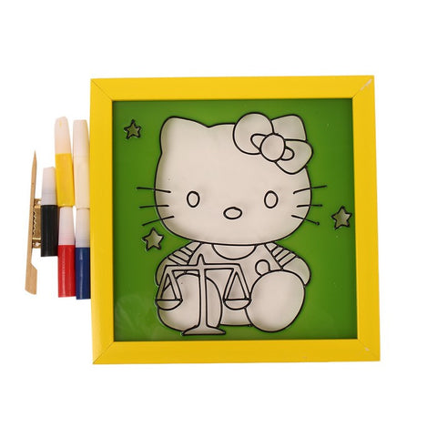 Glass Painting Frame With Colours- Hello Kitty 003