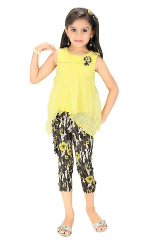 Mini Mini Girls Western Top & Bottom Set Yellow