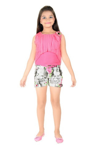 Mini Mini Girls Western Top & Bottom Set Pink