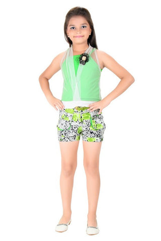 Mini Mini Girls Western Top & Bottom Set Green