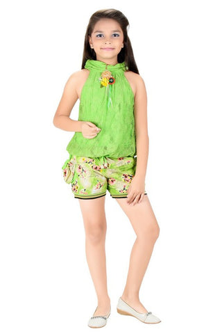 Mini Mini Girls Western Top & Bottom Set (Green)
