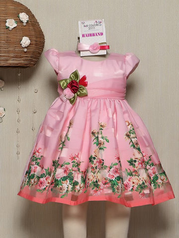 Sleevelss Dress With Hairband-Pink
