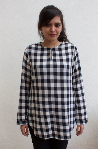 Abercrombie & Fitch Woolnich Black & White Checkered Top