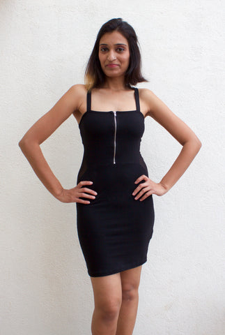 Divided by H&M Black Zip Dress with Mesh Detail