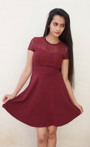 Dorothy Perkins Knitted Maroon Skater Dress