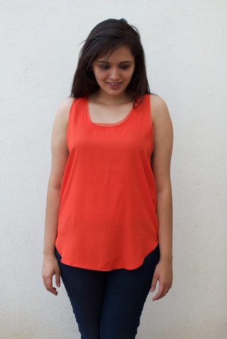 H&M Orange Tank with Frayed ends