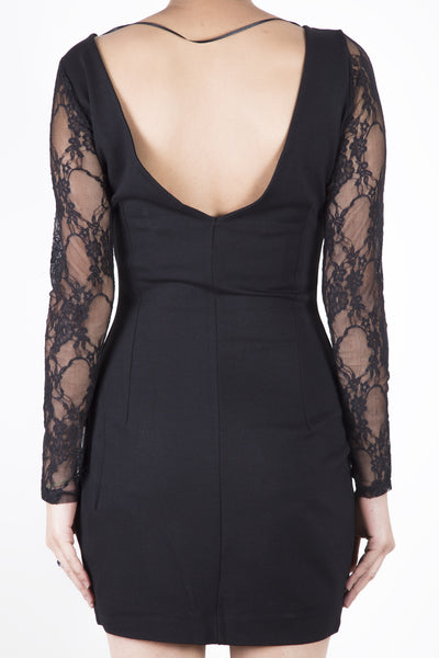 Zara Lace Sleeve Bodycon Dress back