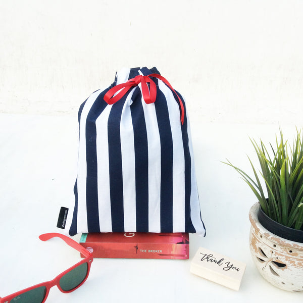 Whistling Yarns Gift Bags blue stripes