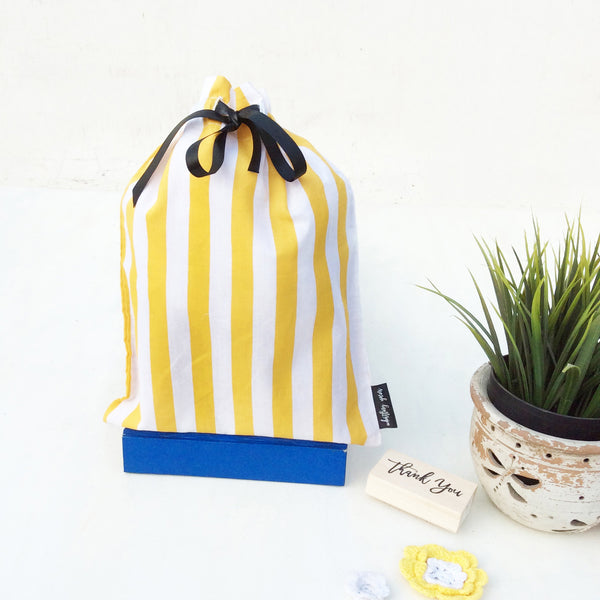 Whistling Yarns Gift Bags yellow stripes