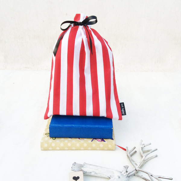 Whistling Yarns Gift Bags red stripes