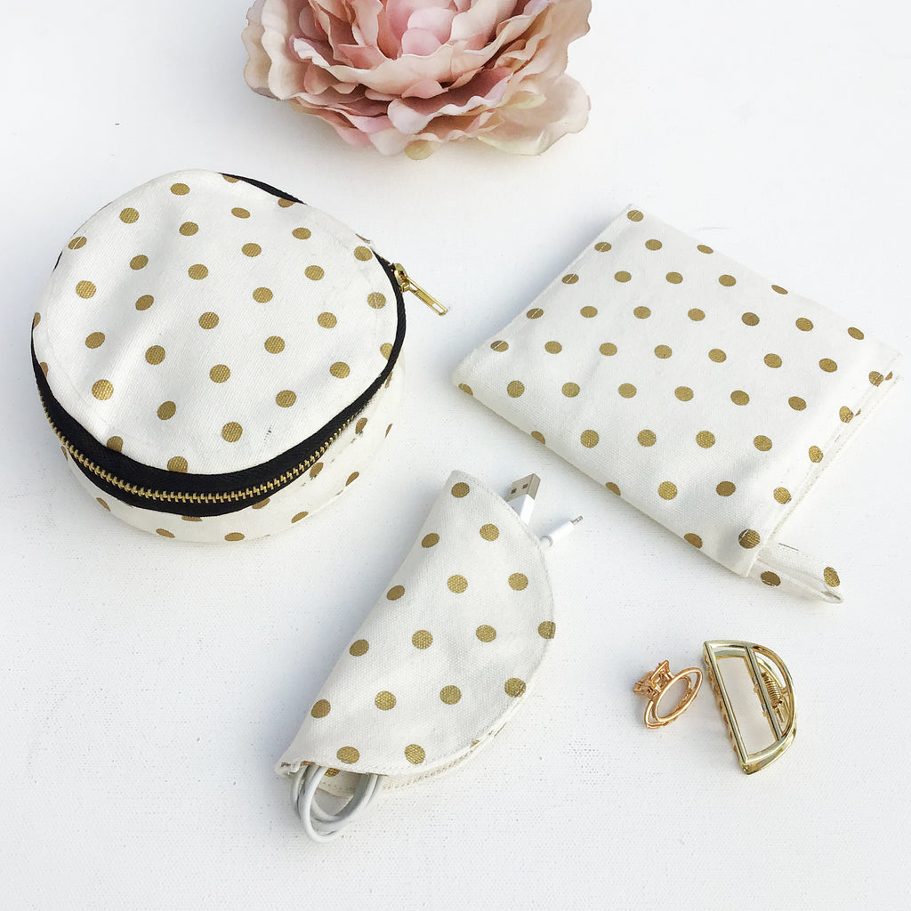 ON-THE-GO GOLD DOTTED PERSONAL KIT {mini-vanity case, sanitary pouch, cord holder}