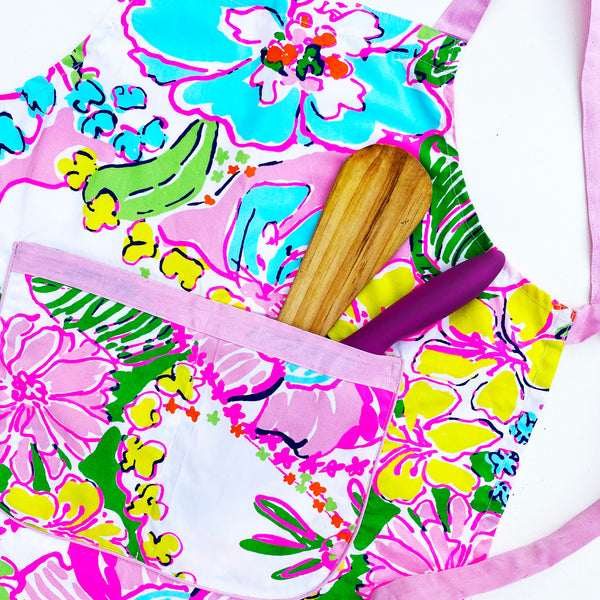 APRONS FOR KIDS {fluorescent florals}