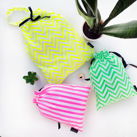 UTILITY BAGS {fluorescent zigzags}