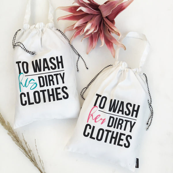 laundry bag - his and her dirty clothes