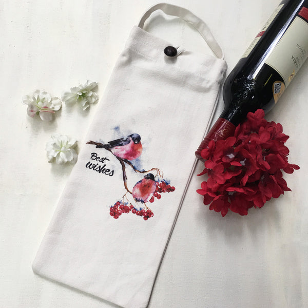 Set of 3 unique WINE BAGS. These one of a kind bags makes your gift stand out. Perfect and fun substitute for wrapping paper.