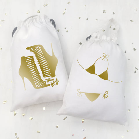 BIKINI & HEEL BAGS {gold on white}